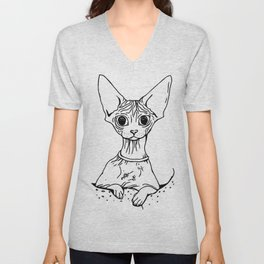 Big Eyed Pretty Wrinkly Kitty - Sphynx Cat Illustration - Nekkie - Cat Lover Gift Unisex V-Neck
