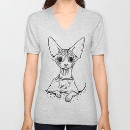 Big Eyed Pretty Wrinkly Kitty - Sphynx Cat Illustration - Nekkie - Cat Lover Gift Unisex V-Neck