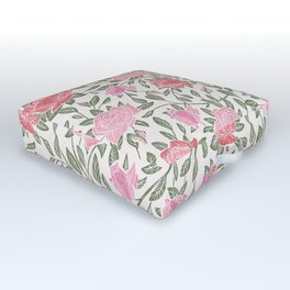 Modern Vintage Chic Blush Pink Forest Green Floral Outdoor Floor Cushion