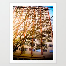 The tree and the building  Art Print