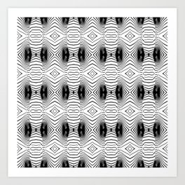 black wave lines  Art Print