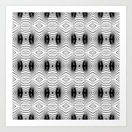 black wave lines  Art Print