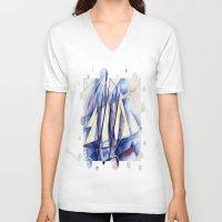 sail V-neck T-shirts featuring Sail Movements by taiche