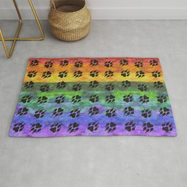 Pawprints Rainbow Spectrum Rug