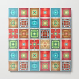 Shiny Colored Squares inside Squares Metal Print