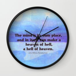 Inspirational Milton quote Paradise Lost Wall Clock