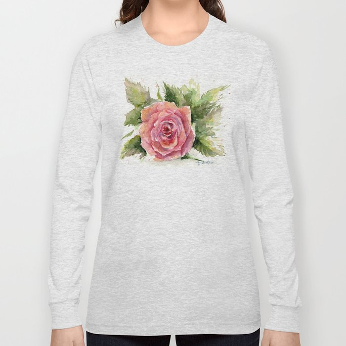 Red Rose Watercolor Pink Rose Flower Floral Art Long Sleeve T-shirt