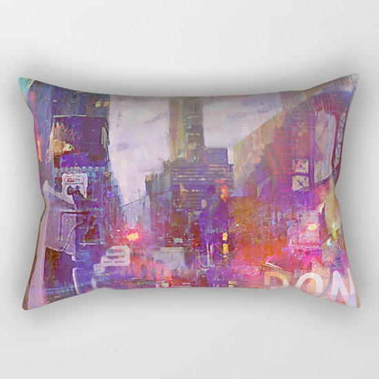 Snowstorm on the city Rectangular Pillow