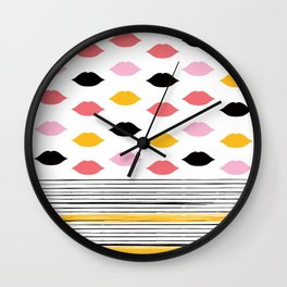 Kisses & Stripes hot summer edition - black, white, gold and pink pattern in vintage Style Wall Clock