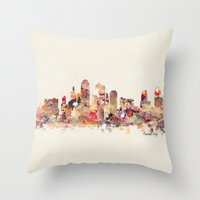 kansas Throw Pillows featuring Kansas City Missouri by bri.buckley