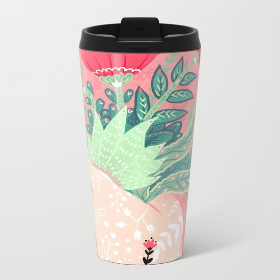Pink Bouquet Metal Travel Mug