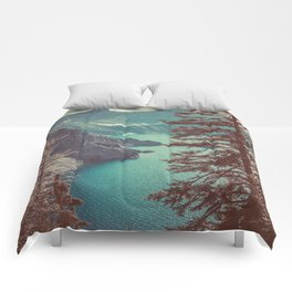 Vintage Blue Crater Lake and Trees - Nature Photography Comforters