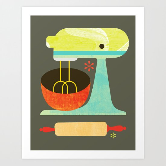 Kitchen Mix & Roll Art Print By Slatthouse
