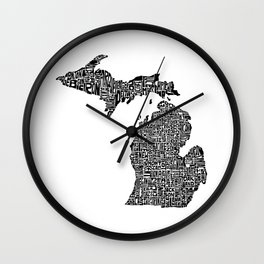 Typographic Michigan Wall Clock