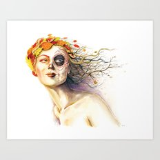 Lady Autumn Art Print
