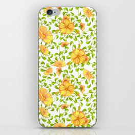 Elegant yellow green watercolor hand painted floral iPhone Skin