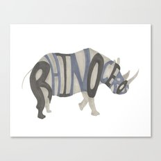 Rhinoceros Typography Canvas Print