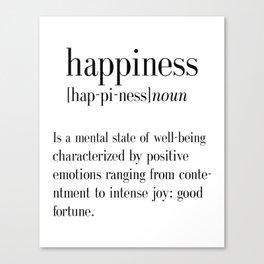 Happiness Definition, Adult, College Dorm Room Decor, Dorm Wall Art, Dictionary Art Print, Office De Canvas Print