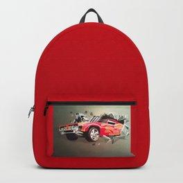 Hot Wheels Car Crashing Through Red Wall Backpack