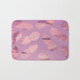 Pretty Pink & Rose Gold Pineapple Pattern Bath Mat