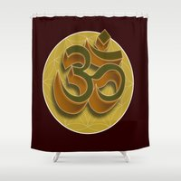 om Shower Curtains featuring OM by Connors.Creations