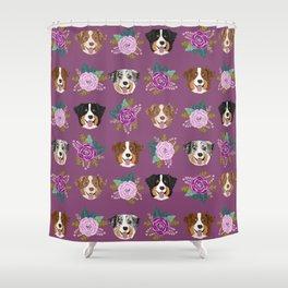 Australian Shepherd dog breed dog faces cute floral dog pattern Shower Curtain