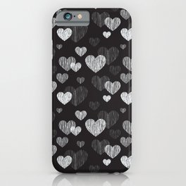 grey scale on black heart doodles pattern iPhone Case