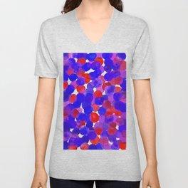 Watercolor Circles - Blue Red & Purple Palette Unisex V-Neck