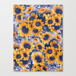 Sunflowers Blue Canvas Print