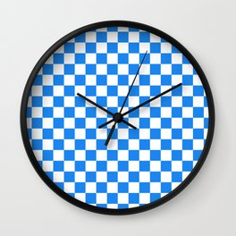 Small Checkered - White and Dodger Blue Wall Clock