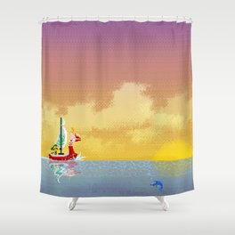 Pixelized : Wind Waker  Shower Curtain