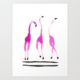 Three Dancing Flamingos Watercolor Painting Art Print