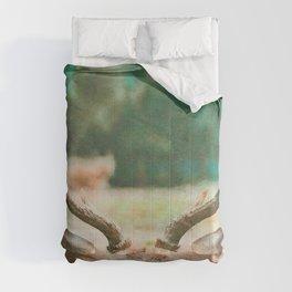 Deer head watercolor painting Comforters