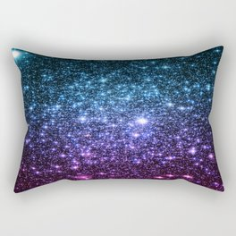 Galaxy Stars : Teal Violet Pink Ombre Rectangular Pillow