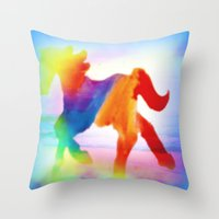 sea horse Throw Pillows featuring Sea Horse by Laura Santeler