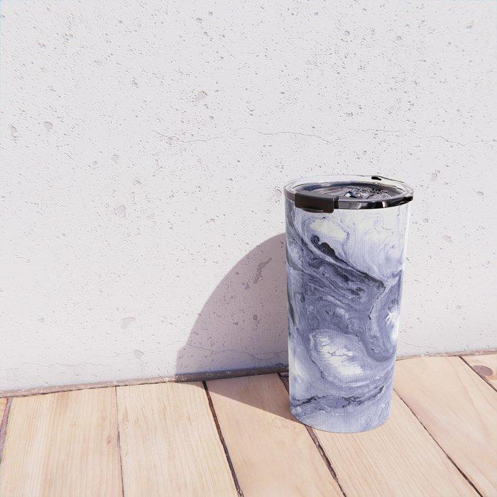 Indigo, black & white abstract II Travel Mug