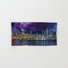 Spacey Chicago Skyline Hand & Bath Towel