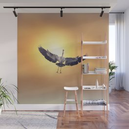 Great Blue Heron In Flight at sunset Wall Mural