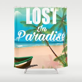 Lost in paradise travel poster Shower Curtain