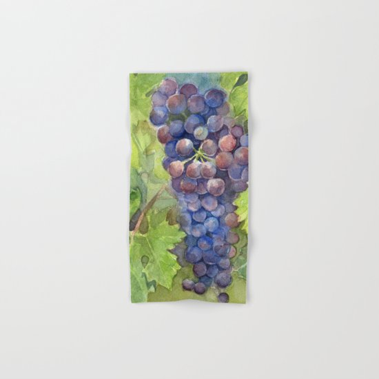 Grapes Watercolor Fruit Food Wine Lovers Hand & Bath Towel