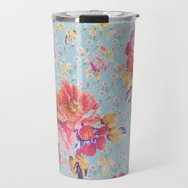 Floral on Blue Travel Mug
