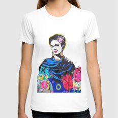 Frida Kahlo White X-LARGE Womens Fitted Tee