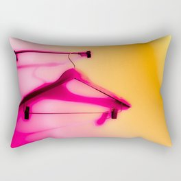 wood hanger with pink and orange background Rectangular Pillow