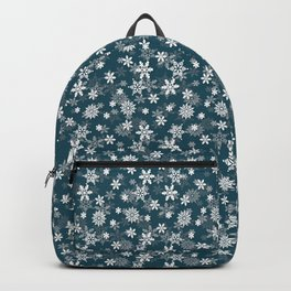 Christmas Winter Night Blue Snow Flakes Backpack