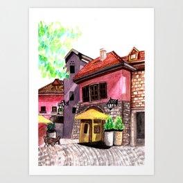 Vintage house street cafe Art Print
