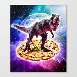 Tyrannosaurus Rex Dinosaur Riding Pizza In Space Canvas Print