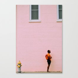 Man on Pink Wall Canvas Print