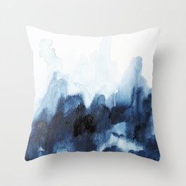 Indigo watercolor 2 Throw Pillow