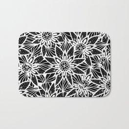 Modern Elegant Black White Tangle Flower Drawing Bath Mat