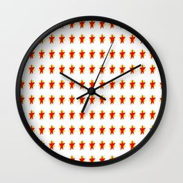 red stars-sky,light,rays,hope,pointed,mystical,estrella,nature,spangled,girly,gentle,star,sun Wall Clock